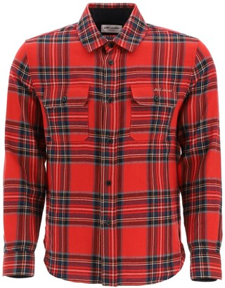 Saint Laurent TARTAN FLANNEL SHIRT 40 Red, Blue, White Wool, Cotton