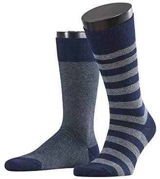 Esprit Men Piqué Stripe 2-Pack socks, 2 pairs, UK size 5.5-8 (EU 39-42), Grey, cotton mix - Skin friendly cotton, reinforced stress zones for optimum durability