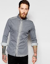 Asos Skinny Denim Shirt With Rip And Repair In Long Sleeve