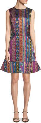 Etro Multi-Ribbon Jacquard Sleeveless Dress with Flounce Hem