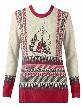 British Christmas Jumpers Women's The Old Cottage Eco Christmas Jumper Pullover Sweater
