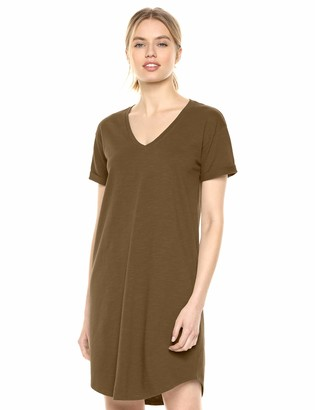 Daily Ritual Women's Lived-in Cotton Relaxed-Fit Roll-Sleeve V-Neck T-Shirt Dress