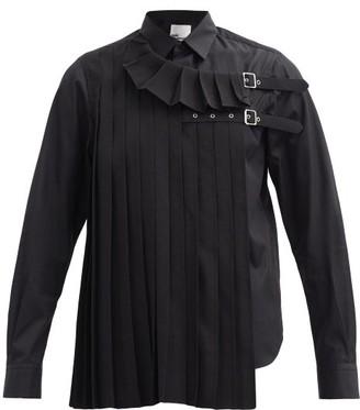 Noir Kei Ninomiya Pleated & Buckled-strap Cotton-poplin Shirt - Black