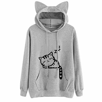Beetlenew Womens Cothing Women Hoodie Cute Cat Ears Casual Kitty Print Hooded Sweatshirt with Drawstring Pocket Long Sleeve Kitten Graphic T-Shirt Pullover Jumper Hoody Blouse Tunic Tops for Teen Girl (L