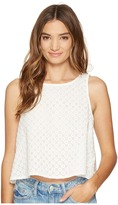 BB Dakota Lizabeth Cotton Eyelet Button Back Shell Top Women's Clothing