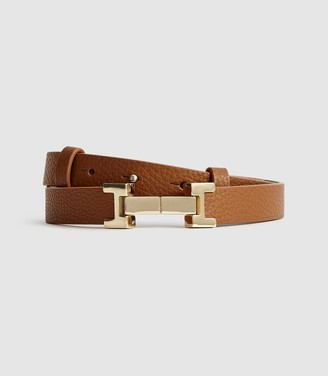 Reiss Hayley - Leather Square Hinge Belt in Tan
