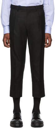 Wooyoungmi Black Wool Cropped Pleated Trousers