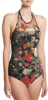 Fuzzi Floral Illusion Tulle High-Neck Halter One-Piece Swimsuit, Black