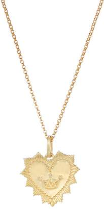 One And One Studio Gold Medallion Heart Pendant Necklace With Crown Symbol On Chain