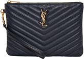 Saint Laurent Navy Quilted Monogram Pouch