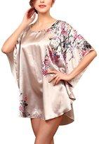 JIAJIA Women Silk Blend Sleep Dress NightGown Sleepwear Pajamas