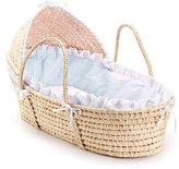 Badger Basket Natural Hooded Moses Basket with Blue Gingham Bedding