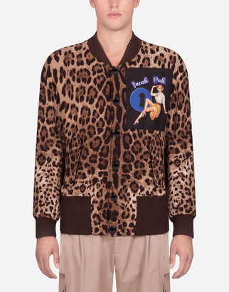 Dolce & Gabbana Leopard Print Jacket In Stretch Cady With Patch