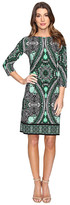 London Times Disc Wheel 3/4 Sleeve Sheath Dress