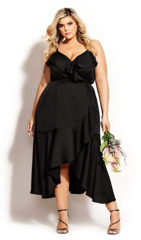 City Chic Citychic Ruffle Amore Maxi Dress - black