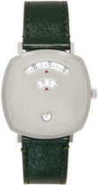 Gucci Silver and Green Grip Watch
