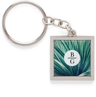 Shutterfly Contemporary Vertical Monogram Pewter Key Ring, ,Adult Unisex
