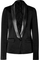 Black tuxedo jacket with leather trim
