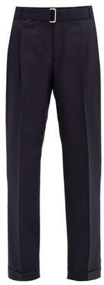 Officine Generale Pierre Pleated Wool-twill Straight-leg Trousers - Navy