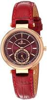 Burgmeister Women's Quartz Metal and Leather Casual Watch, Color:Red (Model: BM336-344)