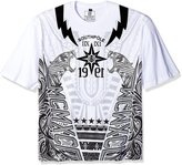 Southpole Men's Big and Tall Short Sleeve Flock and Screen Print Tee with Tiger, Lightning and Wings