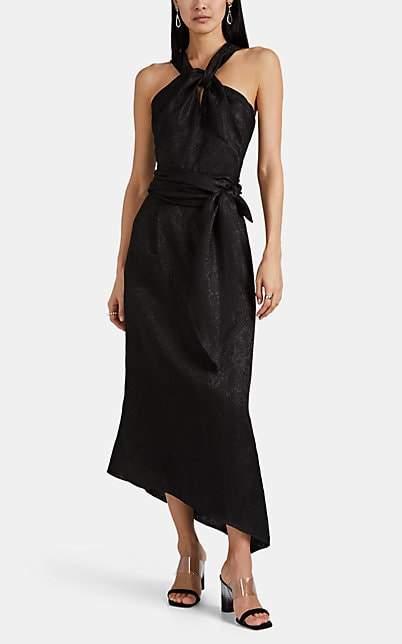 Derek Lam Women's Floral Linen-Cotton Jacquard Gown - Black