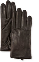 Neiman Marcus Three-Point Leather Gloves w/ Faux-Fur Lining, Brown