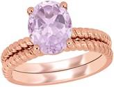 Stella Grace 14k Rose Gold Rose de France Amethyst Bridal Set Ring