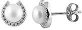 Bella Pearl Pearl & Cubic Zirconia Horseshoe Stud Earrings