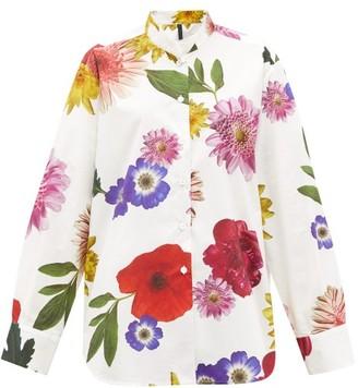 Sara Lanzi Floral-print Cotton-poplin Shirt - Womens - White Multi