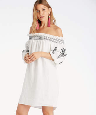 Vince Camuto Women's Embroidered Sleeve Off Shoulder Linen Dress In Color: Ultra White Size Medium From Sole Society