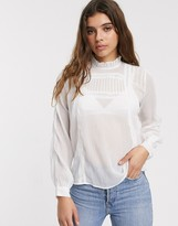 Pieces Rinna high neck long sleeve blouse