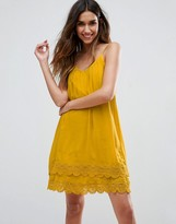 Vila Pleated Front Cami Dress With Crochet Trim