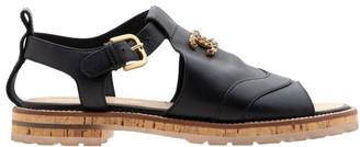 Chanel Black Leather Roman Sandals Size 37