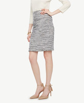 Ann Taylor Grid Fringe Tweed Pencil Skirt
