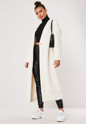 Missguided Faux Fur Maxi Collarless Coat