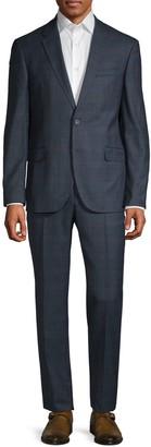 Karl Lagerfeld Paris Slim-Fit Wool-Blend Plaid Suit