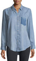 DL1961 Nassau Manhattan Button-Front Mid-Wash Chambray Shirt