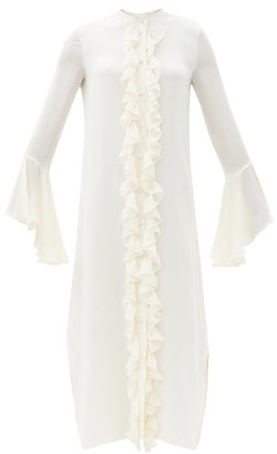 KHAITE Callen Fluted-sleeve Ruffled Silk-georgette Dress - Ivory