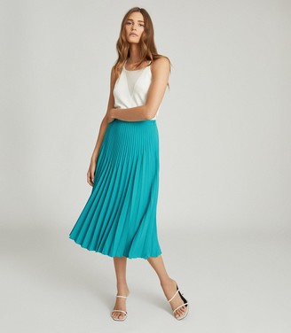 Reiss ISADORA KNIFE PLEAT SKIRT Green