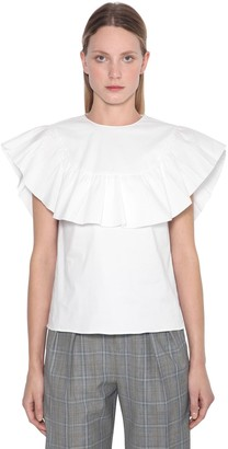 RED Valentino Ruffled S/s Cotton Poplin Shirt