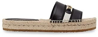 Salvatore Ferragamo Kaden Leather Espadrille Flatform Slides