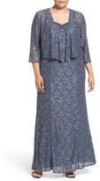 Alex Evenings Plus Size Women's Beaded Lace A-Line Gown & Jacket