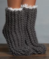 Lemon Legwear Women's Socks Mineral - Mineral Cable-Knit Slipper Socks - Women