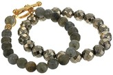 Chan Luu Set of Two Stretch Bracelets in Red Tigers Eye and Sunstone (Red Tigers Eye Mix) Bracelet