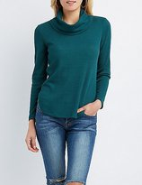 Charlotte Russe Waffle Knit Cowl Neck Tunic Top