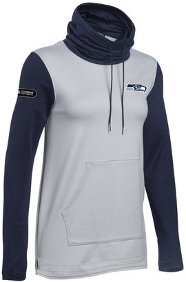 Under Armour Women's Heathered Gray/College Navy Seattle Seahawks Combine Authentic French Terry Cowl Neck Hoodie