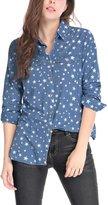 Allegra K Women Long Sleeves Button Closure Stars Tunic Denim Shirt Blue XL