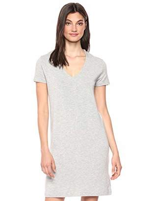 Majestic Filatures Women's French Terry Short Sleeve V-Neck Dress