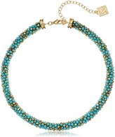 "Anne Klein Gold-Tone Turquoise Collar Necklace, 15"" + 4"" Extender"